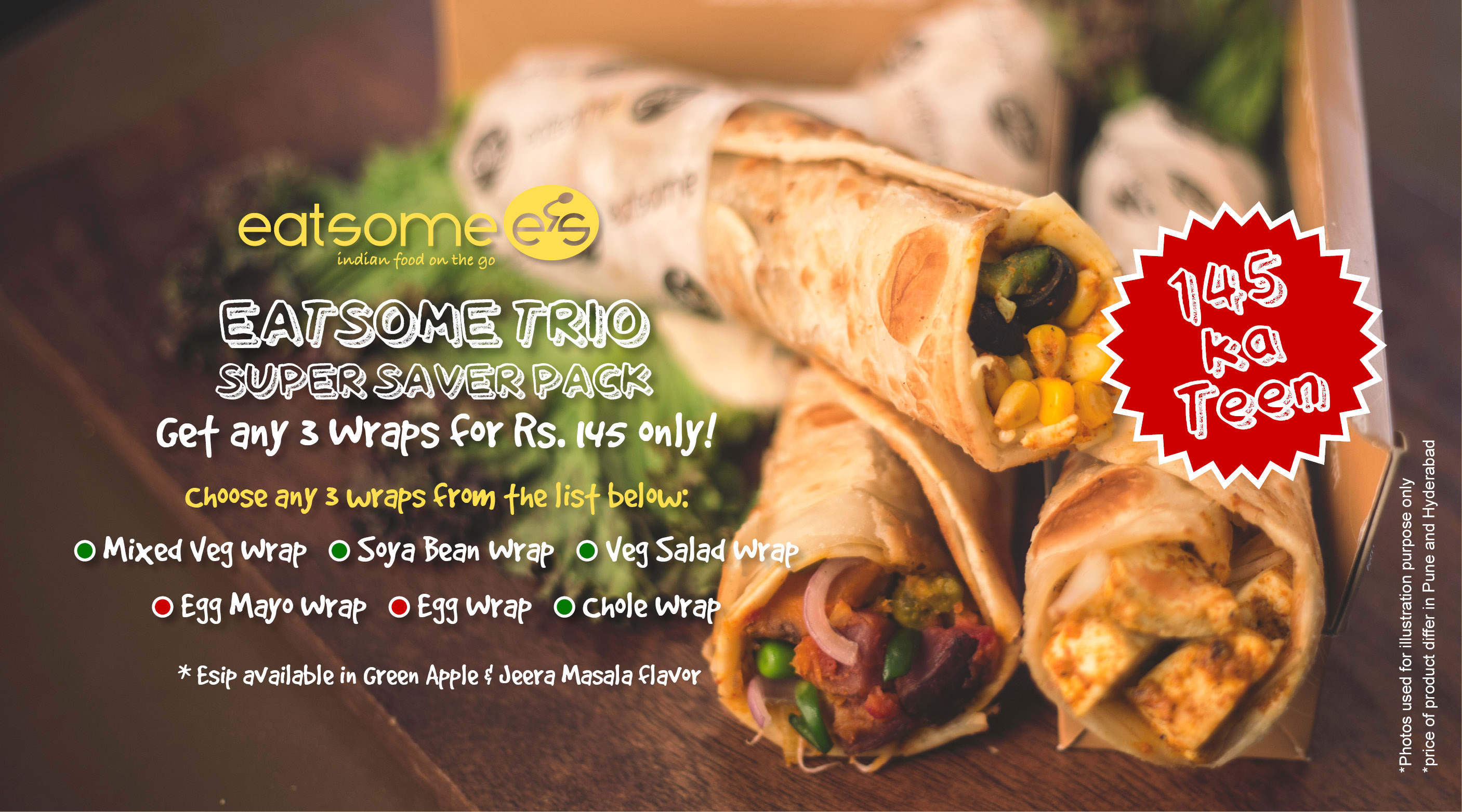 eatsome - indian food on the go  wraps, curries, rice treats, free